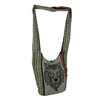 Tribal Wolf Head Boho Stripe coton sac bandoulière