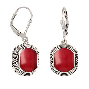 ADEN 925 Sterling Silver Coral ethnic earrings (id 4520)