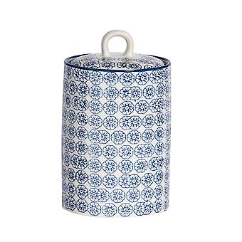 Nicola Spring Hand-Printed Tea Coffee Sugar Canister - Porcelain Kitchen Storage Jar with Seal - Navy - 1L