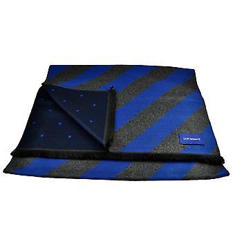 Krawatten Planet Lupi Romani Royal Blau & grau gestreift & Marine & Royal Blau Polka Dot gemustert Doppel Gesicht Schal