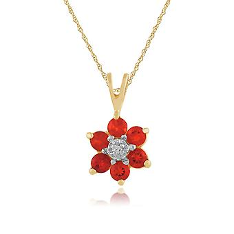 Floral Round Fire Opal & Diamond Cluster Pendant Necklace in 9ct Yellow Gold 181P0016469