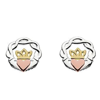 Heritage Sterling Silver Claddagh Melvina Twist Couronne Rose & Boucles d'oreilles Gold Plate Stud 43003RGD