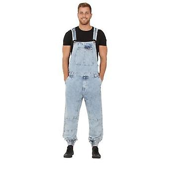 Ethan mens dungarees with elasticated ankle - blue acid wash