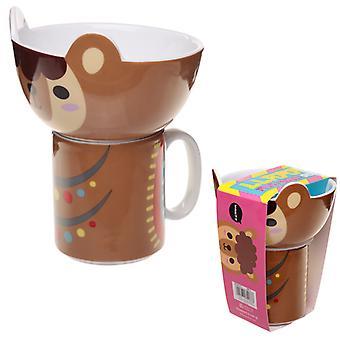 子供&アポスの磁器マグカップとボウルセット - かわいいラマX 1パック