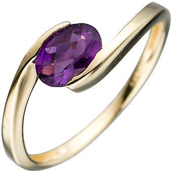 Naisten sormus 333 kulta keltainen kulta 1 ametisti violetti violetti kultarengas
