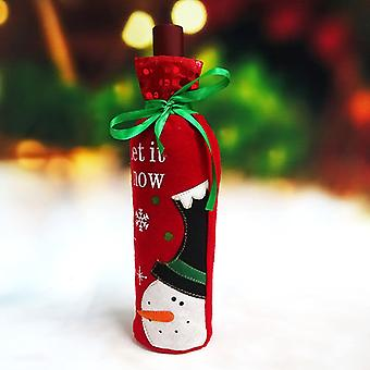 Homemiyn Red Wine Bottle Cover Santa Claus Christmas