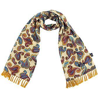 Krawatten Planet Tootal Zitrone gelb, Gold, Oxblood, dunkelblau & Aqua blau Paisley Männer's Mod dünnen Schal