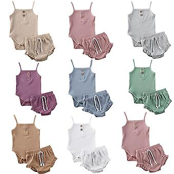 3m-24m 2pcs Summer Newborn Kid Baby Clothes Knitted Crop Tops + Shorts Outfits