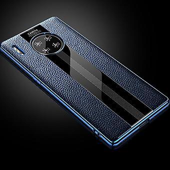 Для Huawei Mate 30 Pro Первый слой Cowhide и стекла Назад Защитный чехло (синий)