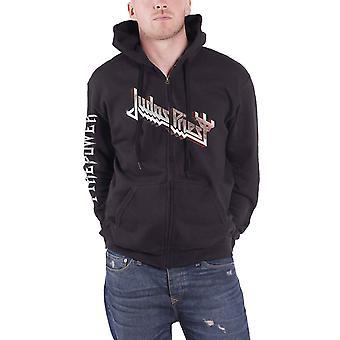 Judas Priest Hoodie Firepower Band Logo new Official Mens Black Zipped