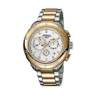 Ferre Milano Gents Silver Dial Stainless Steel/ Gold-Plated Watch