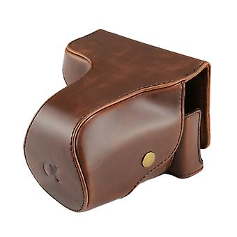 Kokovartalokamera PU nahkakotelo laukku hihna Sony NEX 7 / F3 (18-55mm linssi)(Kahvi)