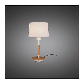 Table Lamp Nordica Ii With Usb Socket, 1x23w E27, White / Beech With White Shade