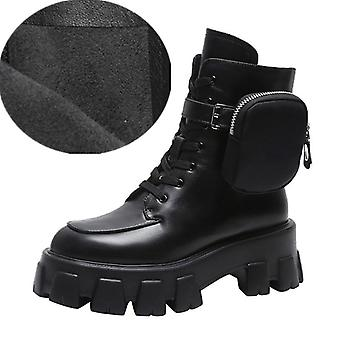Pocket Motorcycle Boots Women Platform Shoes Lace Up Thick-soled Black Shoes