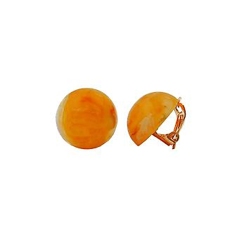 Clip-on Earring Round Orange Marbled 18mm