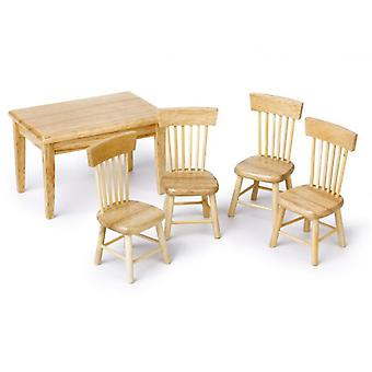 Dollhouse Miniatuur Eettafel / stoel houten meubels set