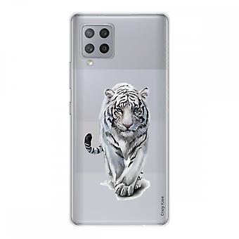 Scafo per Samsung Galaxy A42 5g in Silicone Soft 1 Mm, Tigre Bianca
