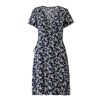 V neck casual floral print mini šaty
