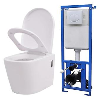 Hanging toilet with built-in sink ceramic white