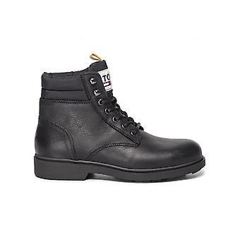 Tommy jeans casual læderstøvler herre sort