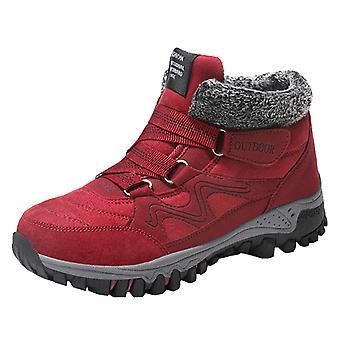 Chaussures de neige d'hiver en peluche de dames rouges