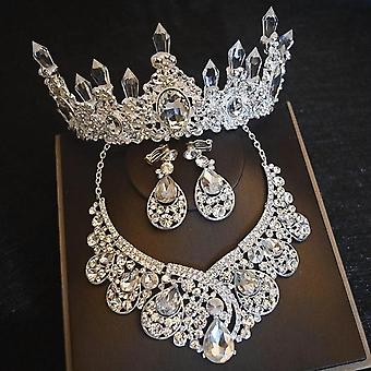 Luxury Big Rhinestone Bridal Jewelry Sets, Crystal Crown, Tiaras Necklace,