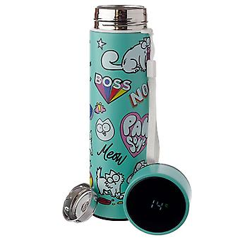 Simon's Cat Stainless Steel Insulated Drinks Bottle With Digital Thermometer