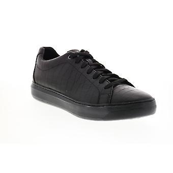 Geox U Deiven Herren Schwarz Leder Lace Up Euro Sneakers Schuhe