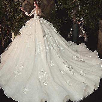 الديكور اللؤلؤ appliques الدانتيل الوهم الأميرة الكرة ثوب، فستان الزفاف