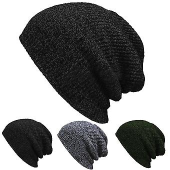 Unisex Knit Baggy Beanie Winter Hat Outdoor Skiing Slouchy Chic Knitted Cap