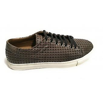 Men's Shoes Sneaker Yox By Nicola Barbato Lasered Leather Dipped Grey Us18nb09