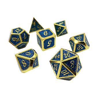 Mana Splash - 7 Piece Blue And Gold Metal Dice Set