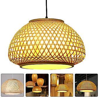 1Pc природных бамбуковая кулон лампа декоративный потолок свет творческий подарок (хаки)