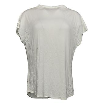 Lisa Rinna Collection Women's Top Short Sleeve Cowl Neck White A379708