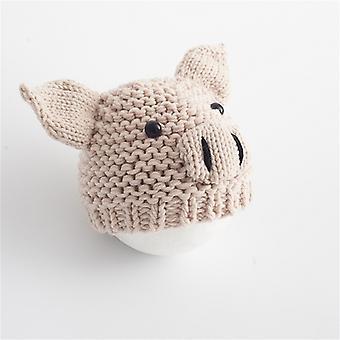 nyfødte babyer fotografering klær tegneserie gris form ull strikket cap, egnet for alder: 0-3 måneder (beige )