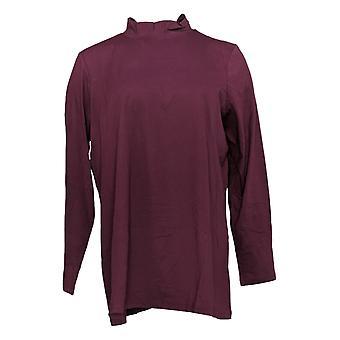 LOGO By Lori Goldstein Women's Top Plus Cotton Mock Neck Purple A366479