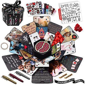 Wokex XXL Explosionsbox, Geschenk DIY Foto Box Set inkl. 5 Themen Schablonen, personalisierte