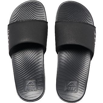 Reef Womens One Slide Pool Flip Flop Thongs Sliders - Black
