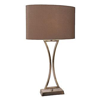 DAR OPORTO wellige Tischleuchte Antik Messing komplett mit braun ovalen Schatten