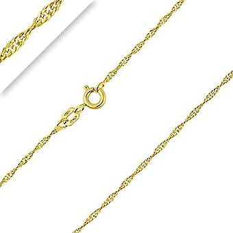 PLANETYS Singapore knitted chain, in 9-carat yellow gold (375/1000), width 1.3 mm, 40-45-50-55-60 cm and Ref yellow gold. 3701049593108