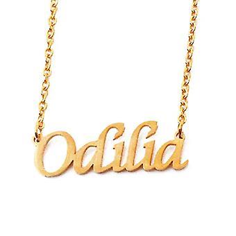 """L Odilia - 18-karaats vergulde ketting, met aanpasbare naam, verstelbare ketting van 16""""- 19"""