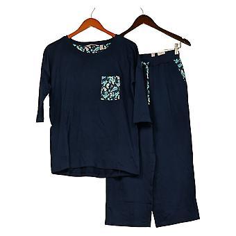 Anybody Women's Set Reg Cozy Knit Print Mixed Lounge Blue A374516