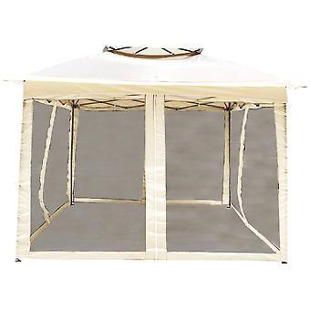 Marquee with 4 mesh sidewalls - 320 x 320 cm – Beige