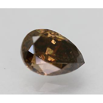 Sertifioitu 1,14 karat elävä ruskea VS2 päärynä paranneltu luonnon timantti 7.69x5.46mm