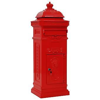 vidaXL Column Letterbox Alumiini Vintage Tyyli Ruostumaton Punainen