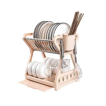 Dish Drainer Drying Rack 2 Tier Bowl Function Utensils Organizer With Chopstick Cage Racks & Holders