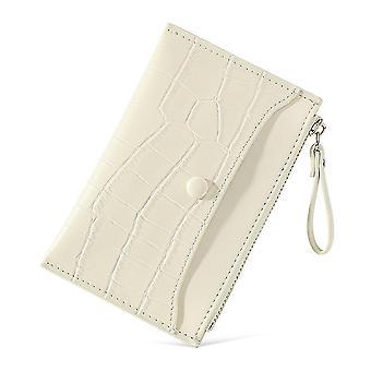 Ultra-dunne multi-card slot pu kaart tas korte dames portemonnee (Creamy-white)