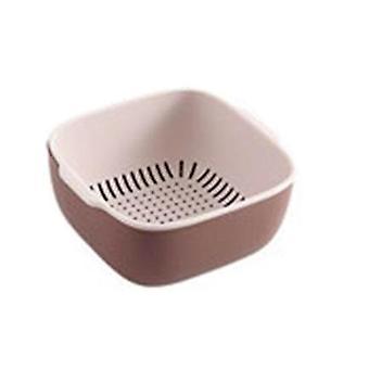 2Pcs Kitchen Sink Double Drain Basket Colander Vegetables Fruit Washing Strainer Food Tray Plate