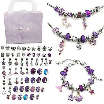 Brățară Efectuarea Kit, Charms pentru bijuterii de luare, handmade Craft Arts (Purple)