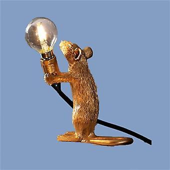 (Um Dourado) Lâmpada de mesa de rato rato de rato animal de resina nórdica, pequeno mini mouse bonito LED Home Decor Desk